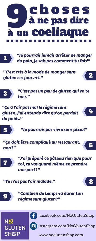 9choses ne pas dire un coeliaque infographie blog sans gluten bien s alimenter c est. Black Bedroom Furniture Sets. Home Design Ideas